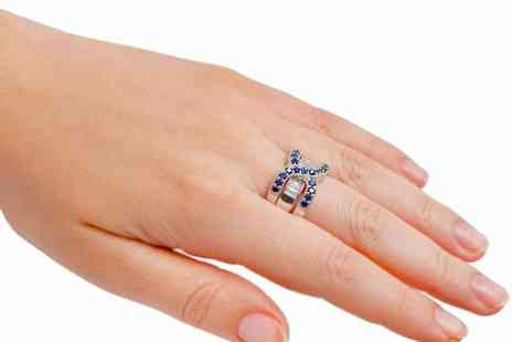 GameChanger Associates - Royal blue double crystal rings set - Save 81%