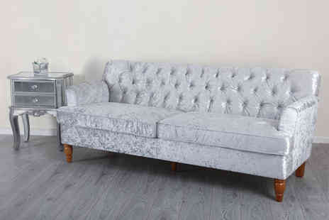 Abreo - Crushed velvet Three seater silver sofa - Save 44%