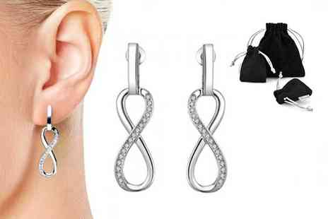 Philip Jones - Pair of infinity drop earrings choose from 3 colours - Save 77%