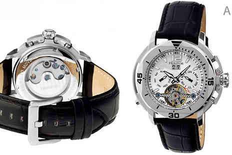 Ideal Deal - Heritor Automatic Lennon Leather Strap Watch Available in 5 Styles - Save 88%