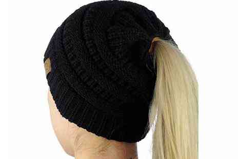 Bellap - Knitted ponytail beanie hat choose from four colours - Save 0%