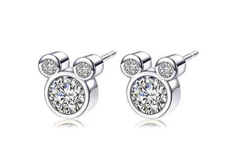 Solo Act - Pair of triple crystal mouse earrings - Save 83%