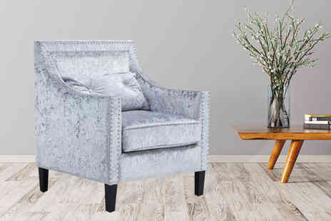 UK Furniture Zone - Studded velvet armchair choose from two colours - Save 62%