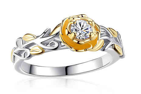 GameChanger Associates - Yellow gold and silver crystal flower ring - Save 80%
