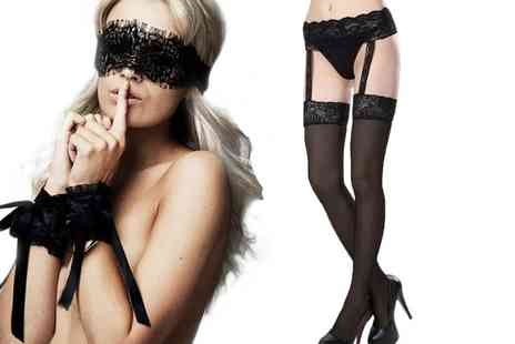 GameChanger Associates - Pair of suspender stockings with garter belt and tie me up set - Save 87%