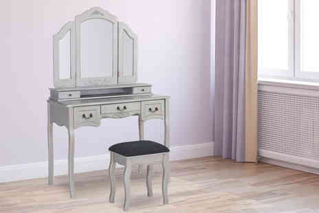 UK Furniture Zone - Dressing table with drawers and a stool choose from three colours - Save 64%