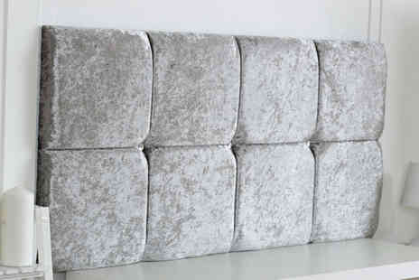 Serenity Designs - Crushed velvet headboard choose from five colours and six sizes - Save 51%