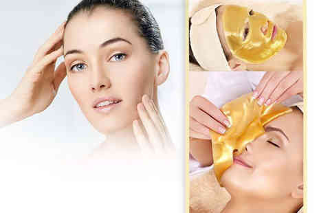 Forever Cosmetics - 10 gold collagen face masks and headband - Save 88%