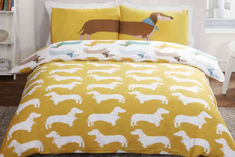 Style my bedroom - Reversible Sausage Dog Duvet Set Available in Three Sizes - Save 63%