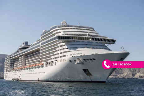 Viva Cruise - Four Star Three nights Dubai stay, Seven Nights full board Middle Eastern MSC Splendida cruise and return flights - save up to 35% - Save 35%