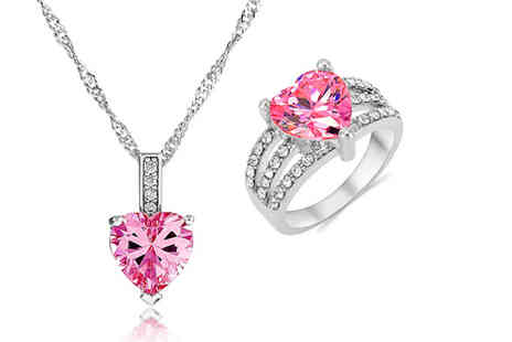 Gemnations -  Pink cubic zirconia heart ring and necklace set - Save 92%