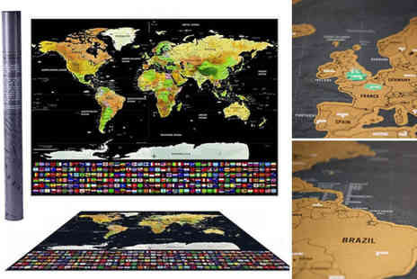 Domosecret  - Scratch off world map poster - Save 75%