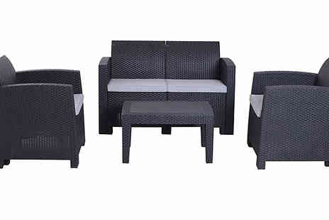 Mhstar - Four Piece Rattan Effect Sofa Set With Cushions - Save 36%