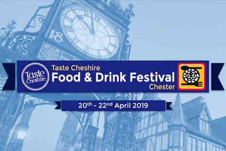 Chester Food and Drink Festival - Three day ticket to Chester Food & Drink Festival on 20th To 22nd April with restaurant voucher or one day VIP ticket with a glass of Champagne, glass of cider, food voucher and more - Save 80%