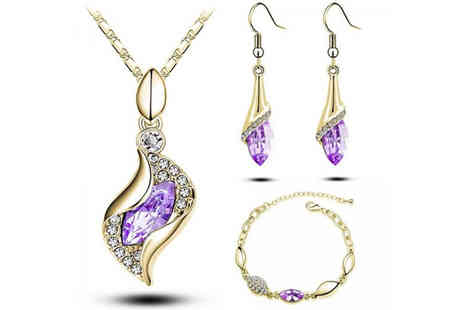 Evoked Design - Yellow gold plated and lilac crystal tri set - Save 87%