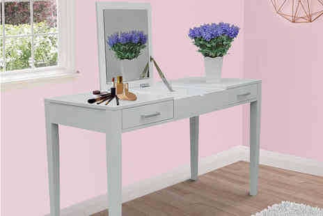 Mhstar - White dressing table with folding vanity mirror - Save 56%