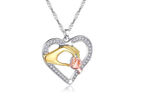 Your Ideal Gift - Mother and child hand pendant with crystals from Swarovski - Save 89%