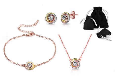 Philip Jones - Tricolour jewellery set made with crystals from Swarovski - Save 65%