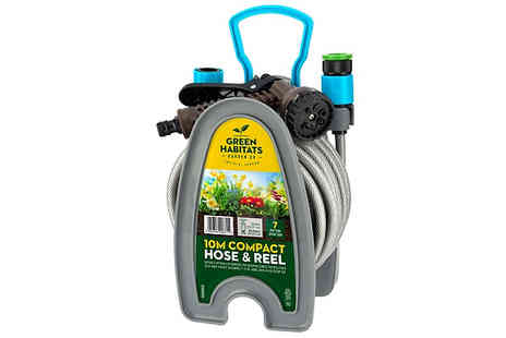 Home Season - Green Habitats 10m Hosepipe with Attachments  Wall Mount - Save 70%