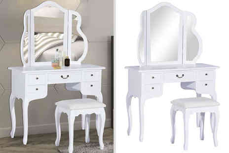 Mhstar - White dressing table and matching stool - Save 46%