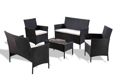 UK Furniture Zone - Five piece polyrattan garden furniture set with cover - Save 77%