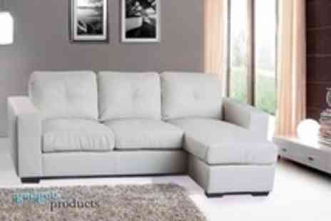 Gadgets & Products - 100% bonded leather, 3 seater corner sofa in black or white - Save 55%