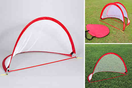 Eurotrade - Pair of portable folding football goal keeping nets choose between three sizes - Save 58%