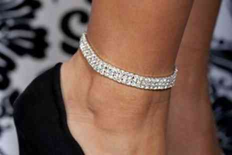 Groupon Goods Global GmbH - One or Two Crystal Row Anklets - Save 87%
