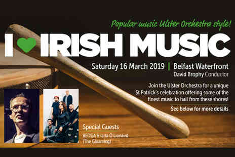 Ulster Orchestra Society - Ticket to an I Love Irish Music live concert with Beoga and Iarla o Lionaird at Belfast Waterfront on 16th March - Save 40%