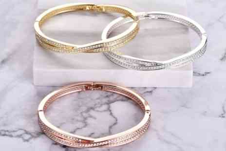 Groupon Goods Global GmbH - One, Two or Three Philip Jones Crossover Bangles with Crystals from Swarovski - Save 64%