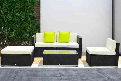 MH Star - 5 pc Outsunny polyrattan sofa set choose between three colours - Save 66%