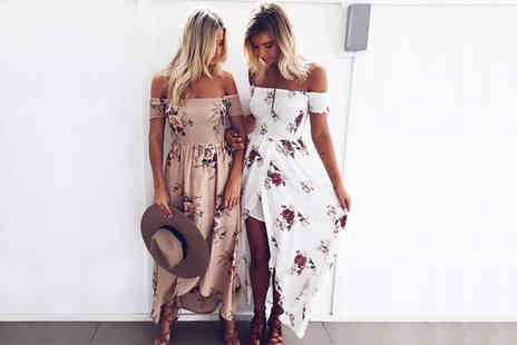 Boni Caro - Floral off shoulder maxi dress choose between six colours - Save 74%