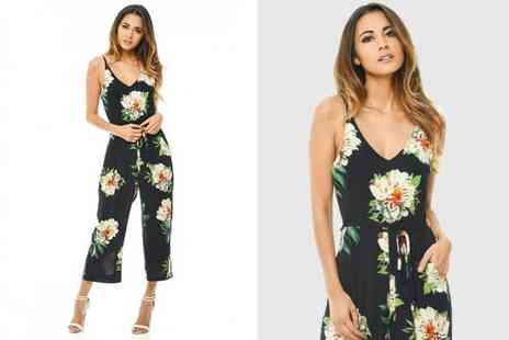 Verso Fashion - Floral print navy jumpsuit - Save 63%