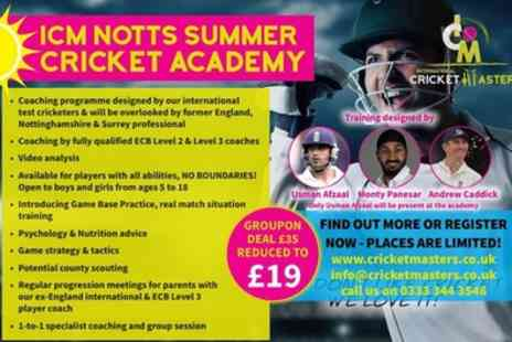 International Cricket Masters - One ticket to an ICM Notts Summer Cricket Academy session on 1 May To 28 August - Save 46%