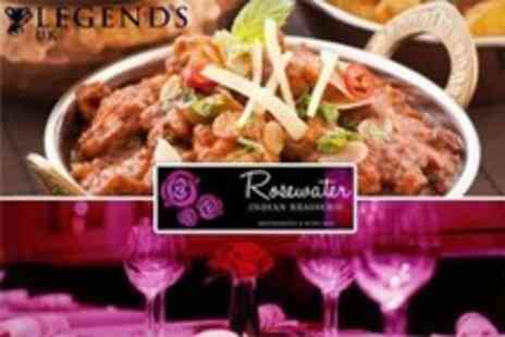 Rosewater Indian Brasserie - Three Course Indian Meal Hosted By Former Leicester City Captain Steve Walsh With Glass of Champagne - Save 71%