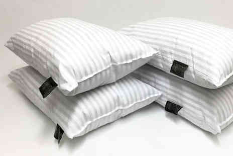 Direct Warehouse - Four luxury striped bed pillows - Save 80%