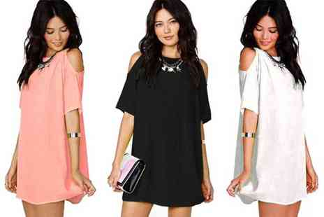 Verso Fashion - Boho off shoulder mini dress choose from three colours - Save 68%