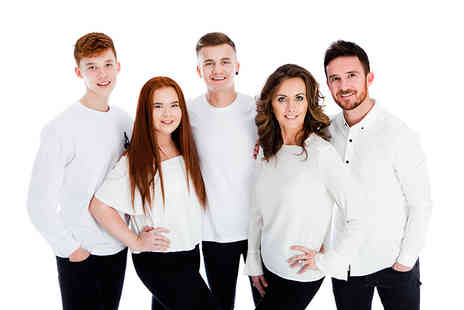 Premier Photography - One hour family photoshoot for up to 12 people with five mounted prints - Save 0%