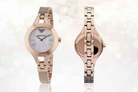 Best Watch Company - Rose gold Emporio Armani AR7329 mesh watch with mother of pearl dial - Save 60%
