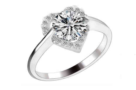 Solo Act - Crystal heart solitaire ring - Save 82%