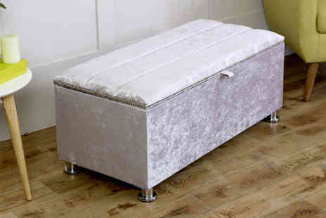 Serenity Designs - Crushed velvet ottoman storage box choose from eight colours - Save 59%