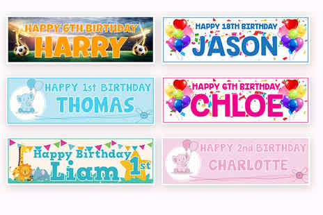 Deco Matters - 1, 2, 4 or 6 personalised birthday banners - Save 80%
