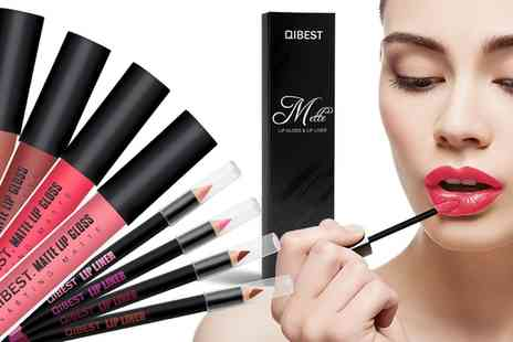 Groupon Goods Global GmbH - Up to Eight Matte Lip Gloss and Pencil Kits - Save 0%
