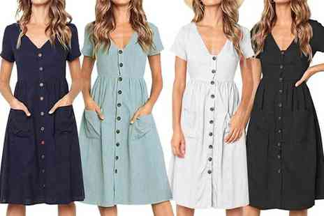 Boni Caro - Button up dress choose from four colours - Save 0%