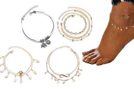 Groupon Goods Global GmbH - One or Two Layered Anklets with Charms - Save 0%
