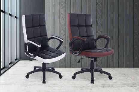 Meriden Furniture - Waffle padded Pu leather office chair choose from two colours - Save 54%