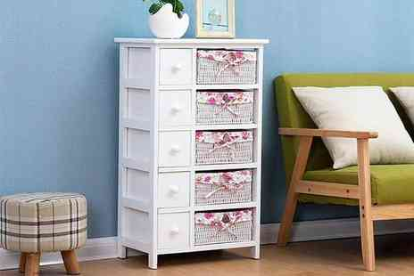 Meriden Furniture - Five tier floral wicker drawer set, floral dressing table - Save 0%