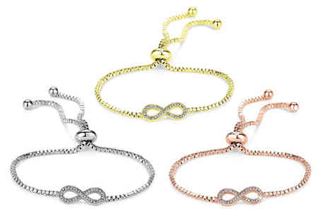Philip Jones - Infinity friendship bracelet made with crystals from Swarovski choose from three colours - Save 55%