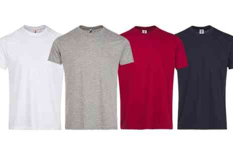 Groupon Goods Global GmbH - Four Pack of Mens Plain Coloured Tshirts - Save 0%