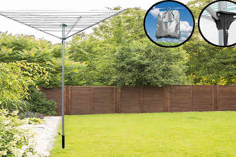 Home Season - 3 Arm 30m Rotary Clothes Airer with Optional Cover - Save 70%